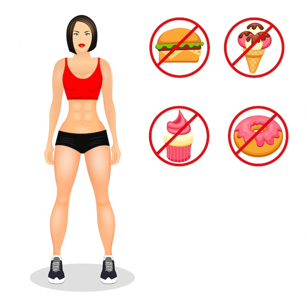 Fitness concept with fit woman in sportswear. muscular models cartoon girl. useful and harmful food. vector illustration isolated