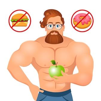 Концепция фитнеса с культуристом спорта бородатым битником с очками и красными волосами.