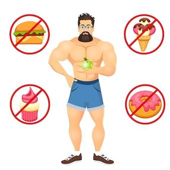 Концепция фитнеса с культуристом спорта бородатым битником в очках. модели muscular fitness. полезная и вредная еда. векторные иллюстрации, изолированные на белом фоне.