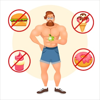 Fitness concept with sport bodybuilder bearded hipster with glasses and red hair. muscular fitness models. useful and harmful food. vector illustration isolated