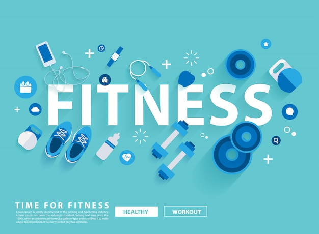 Fitness concept workout with equipment. vector illustration