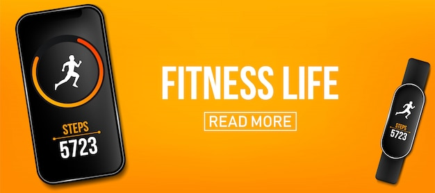 Fitness counter phone run app banner, wrist band bracelet