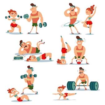 運動をしているフィットネスカップルの男性と女性。分離されたトレーニングの女の子と男のベクトル漫画イラスト。健康的なライフスタイルセット。