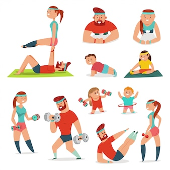 Fitness couple man and woman doing exercise. family workout vector cartoon illustration isolated. healthy lifestyle set.
