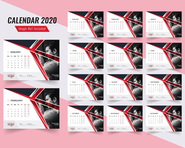 Fitness desk calendar template 2020