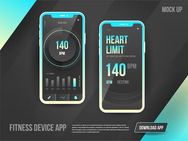 アプリをダウンロードするためのフィットネスデバイスアプリ広告。