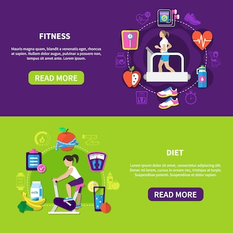Fitness diet horizontal banners
