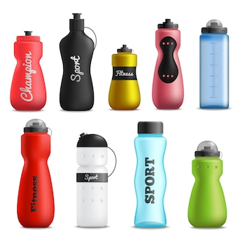Fitness drink bottles realistic set