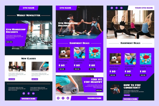 Fitness email template collection