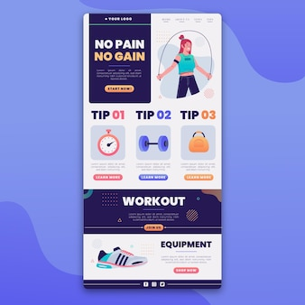 Fitness email template with illustrations