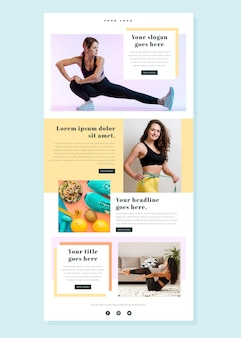 Fitness email template with photos and news
