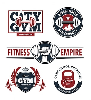 Fitness emblems set