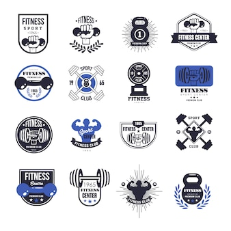 Fitness emblems set