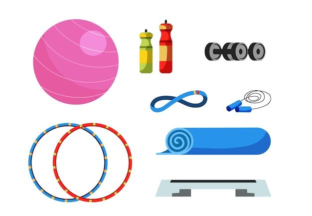 フィットネス機器のイラストセット、スイスボール、ウォーターボトルとダンベル、フラフープ、ステッププラットフォーム、縄跳び。