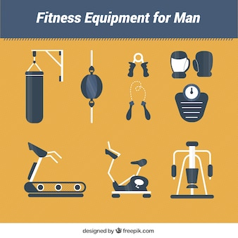 Fitness equipment for man in a flat style
