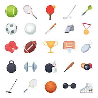 Fitness equipment. sport balls racket recreation gym tools for exercises vector illustrations. basketball and football ball, glove for training