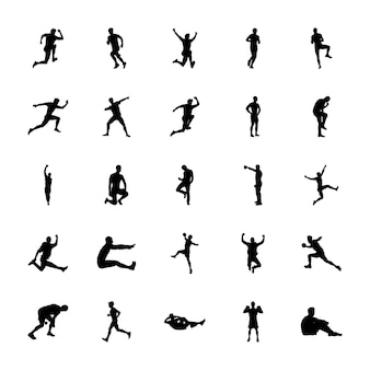 Fitness exercise silhouettes icons pack