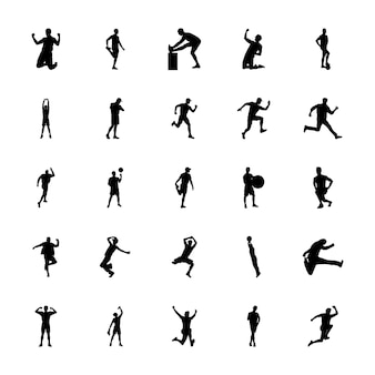 Fitness exercise silhouettes vectors pack