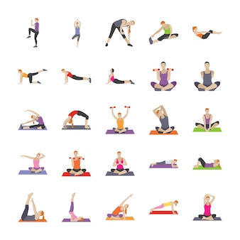Fitness and exercises flat icons