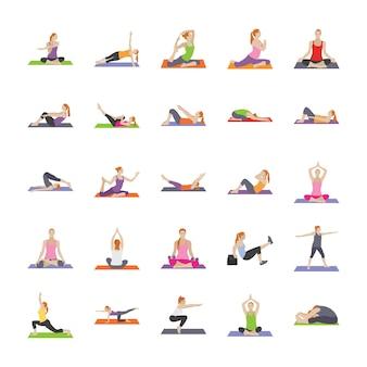 Фитнес упражнения плоские иконки