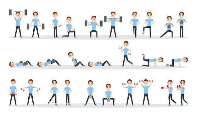 피트니스 운동을 설정합니다. 체육관에서 피트 니스를하는 사람.