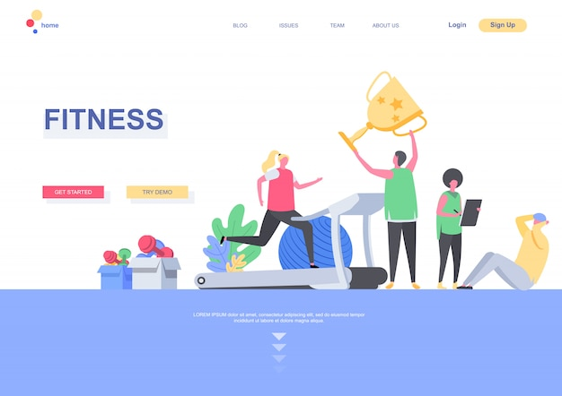 Fitness flat landing page template. people training and taking part in sports competitions situation. web page with people characters. sports activities and workout motivation illustration.