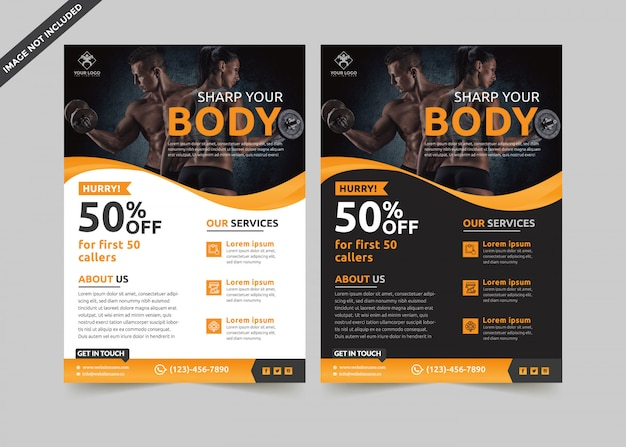 Fitness flyer template premium vector