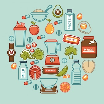 Fitness food composition of sports healthy diet food nutrition elements.