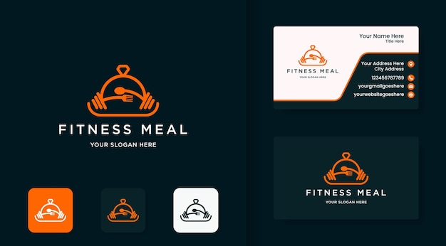 Fitness food menu logo design use line style and business card