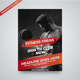 Fitness freak gym promotional flyer design