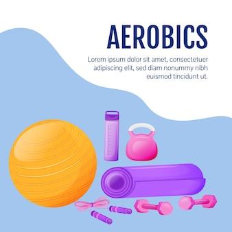 Сообщение в социальных сетях о фитнес-снаряжении. товары для аэробики. шаблон дизайна веб-баннера. спортивное оборудование тренажерного зала