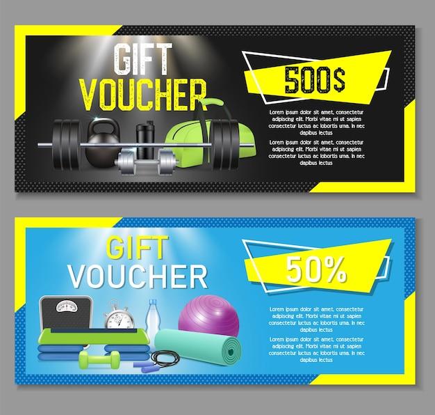 Fitness gift voucher template set.