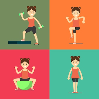 Fitness girl doing exercise, illustration set