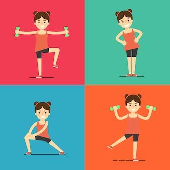 Fitness girl doing exercise, illustration set