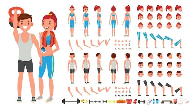Fitness girl, man