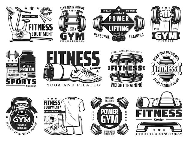 피트니스, 체육관, 보디빌딩 스포츠 클럽 벡터 아이콘에는 훈련용 바벨이 있습니다. 파워 리프팅 덤벨, 러닝머신 및 단백질 영양이 포함된 요가 및 필라테스 건강 및 피트니스 클럽 근육 핸드 엠블럼