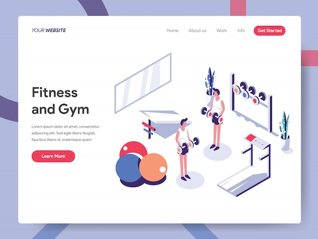 Fitness and gym banner concept for website page