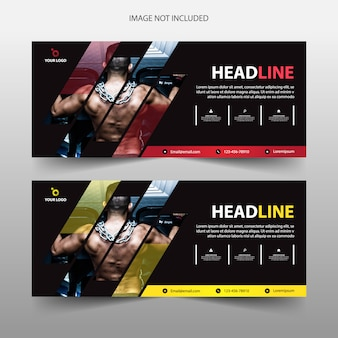 Fitness gym banner template header cover