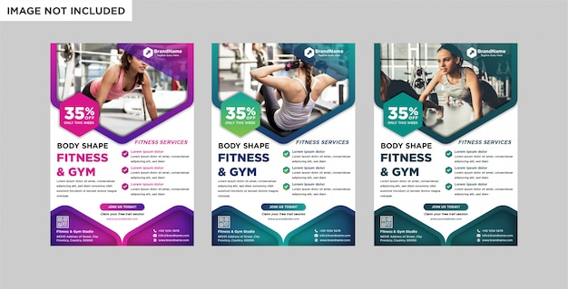 Fitness gym business flyer template.