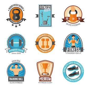 Fitness and gym club badges