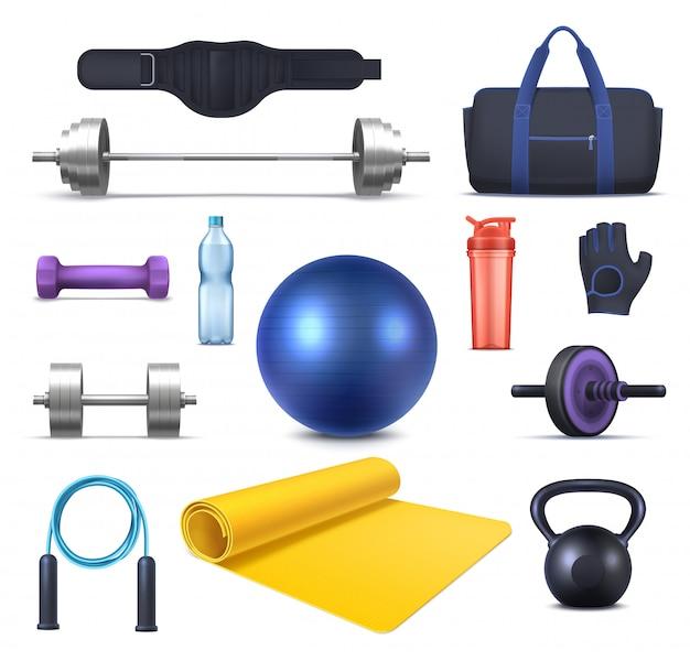 Fitness, gym club equipment and sport training garments