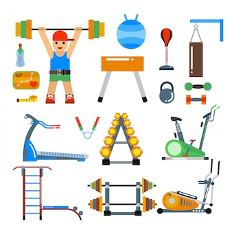 Fitness gym club vector element. athlete and sport tools. sportsman silhouette, bicycle track, damn ladder
