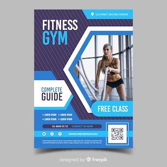 Fitness gym complete guide sport flyer template