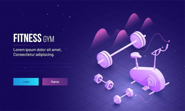 Фитнес-тренажерный зал концепции целевой дизайн целевой страницы.