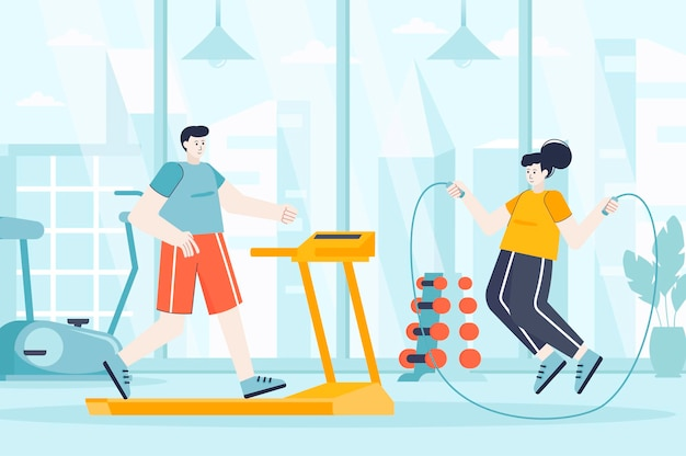 Fitness gym concept in flat design illustration of people characters for landing page