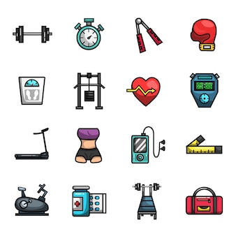 Fitness gym diet workout elements full color  icon set