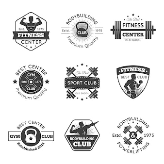 Fitness gym emblems set