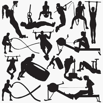 Fitness gym equipment silhouettes