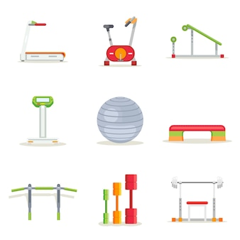 Fitness gym exercise equipment for workout in flat style. icons set. treadmill and barbell, platform and bar, running and bicycle, vector illustration