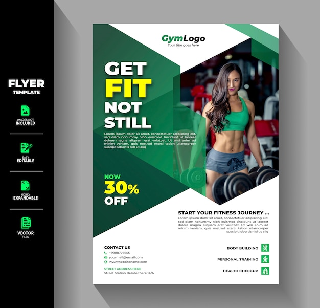 Fitness gym exercise workout training flyer brochure template